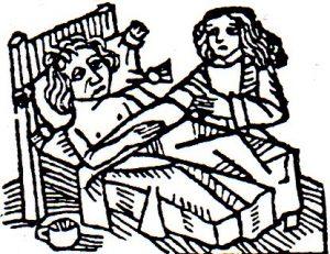 Grabado medieval enfermedad