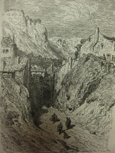 Antiguo grabado representando el barrio de la Puerta de Soria de Calatayud